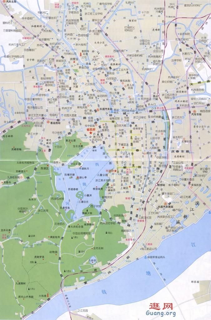 hangzhou杭州地图杭州市区图西湖地图